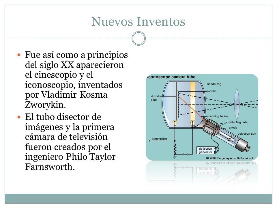 Nuevos Inventos Fue así como a principios del siglo XX aparecieron el cinescopio y el iconoscopio, inventados por Vladimir Kosma Zworykin.