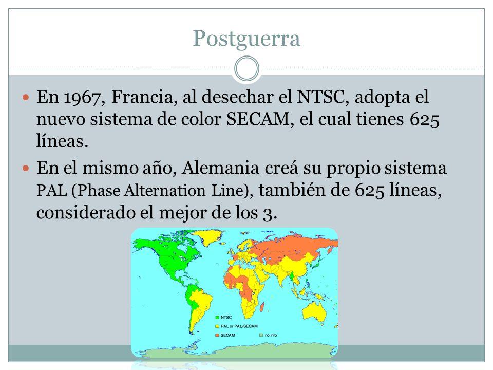 PostguerraEn 1967, Francia, al desechar el NTSC, adopta el nuevo sistema de color SECAM, el cual tienes 625 líneas.