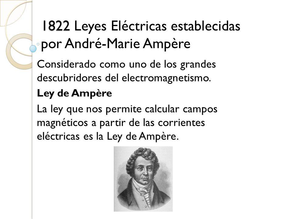 1822 Leyes Eléctricas establecidas por André-Marie Ampère