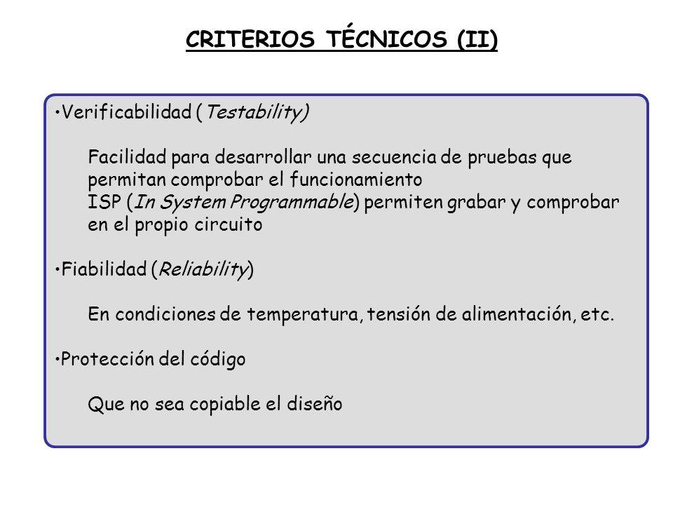 CRITERIOS TÉCNICOS (II)