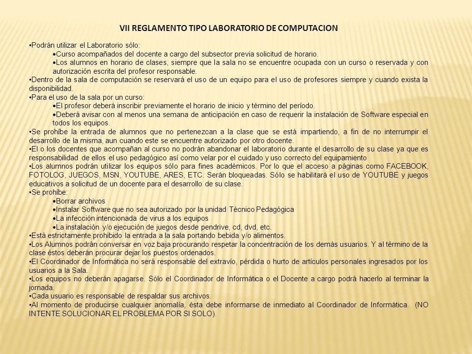 VII REGLAMENTO TIPO LABORATORIO DE COMPUTACION