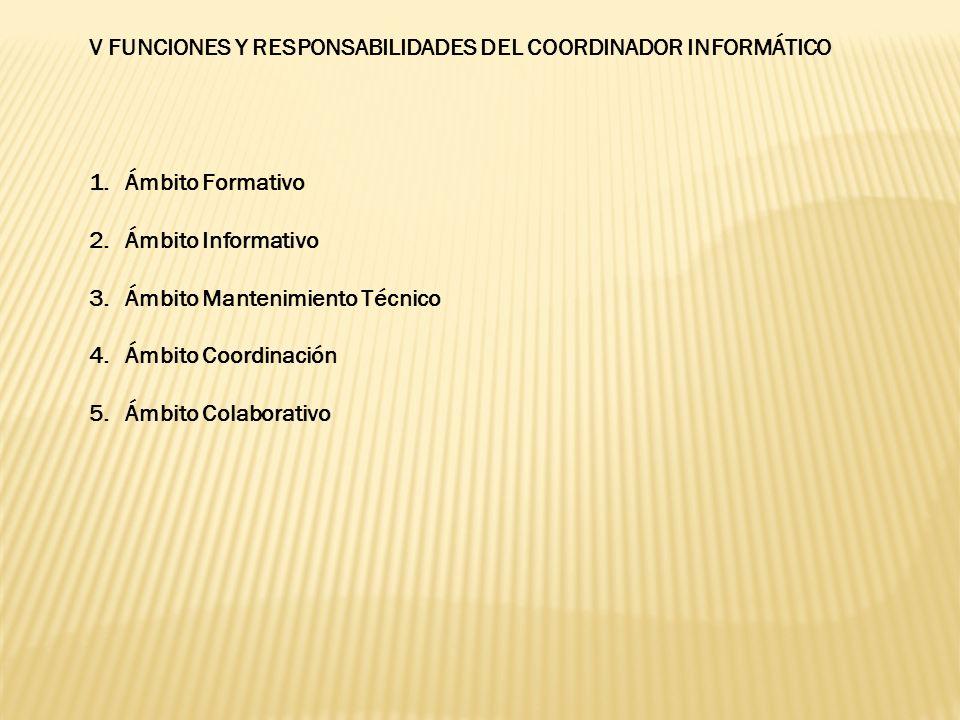 V FUNCIONES Y RESPONSABILIDADES DEL COORDINADOR INFORMÁTICO