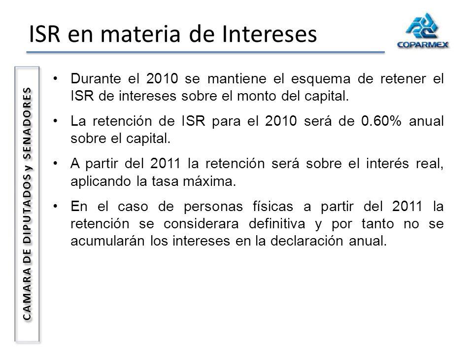 ISR en materia de Intereses