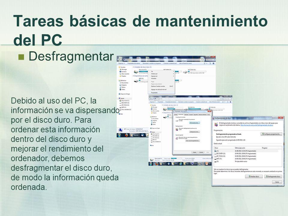 Tareas básicas de mantenimiento del PC