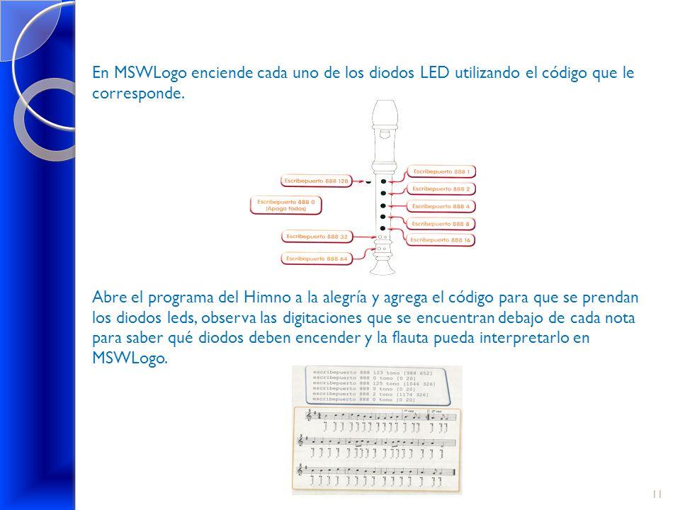 En MSWLogo enciende cada uno de los diodos LED utilizando el código que le corresponde.
