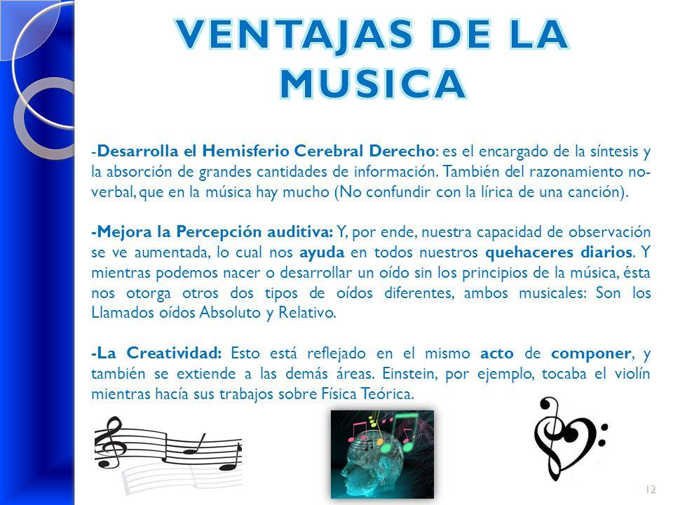 VENTAJAS DE LA MUSICA