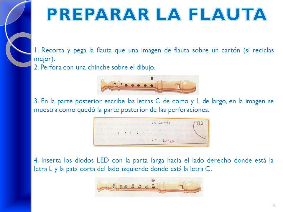 PREPARAR LA FLAUTA 1. Recorta y pega la flauta que una imagen de flauta sobre un cartón (si reciclas mejor).