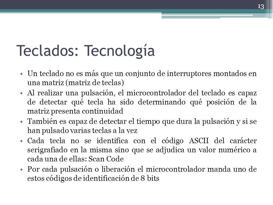 Teclados: Tecnología Un teclado no es más que un conjunto de interruptores montados en una matriz (matriz de teclas)