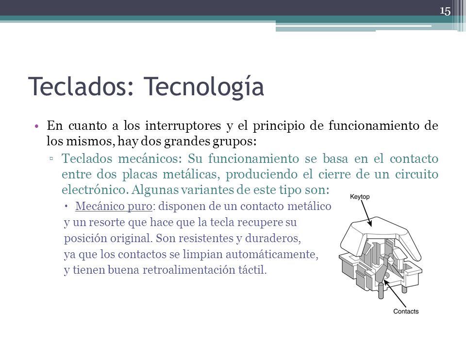 Teclados: Tecnología En cuanto a los interruptores y el principio de funcionamiento de los mismos, hay dos grandes grupos: