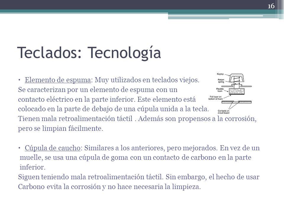 Teclados: Tecnología Elemento de espuma: Muy utilizados en teclados viejos. Se caracterizan por un elemento de espuma con un.