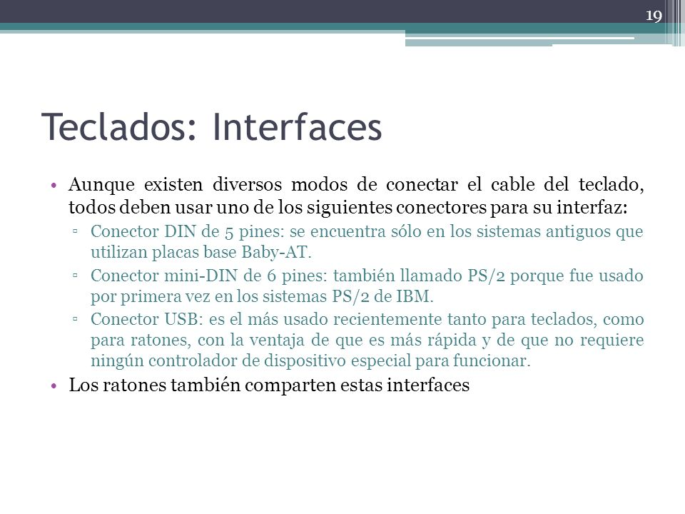 Teclados: Interfaces