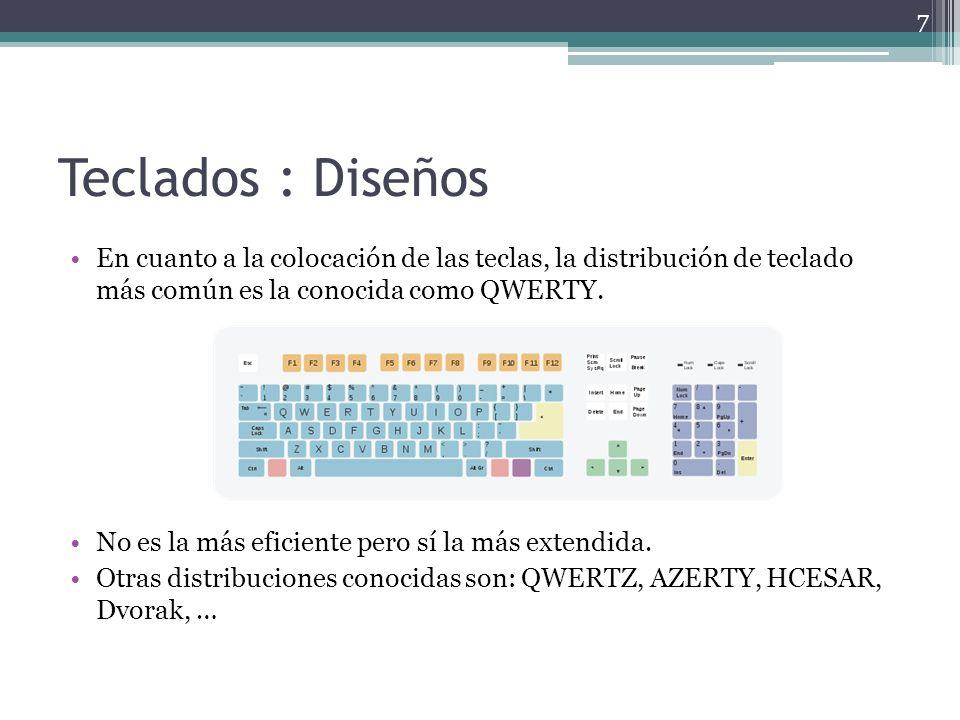 Teclados : Diseños En cuanto a la colocación de las teclas, la distribución de teclado más común es la conocida como QWERTY.