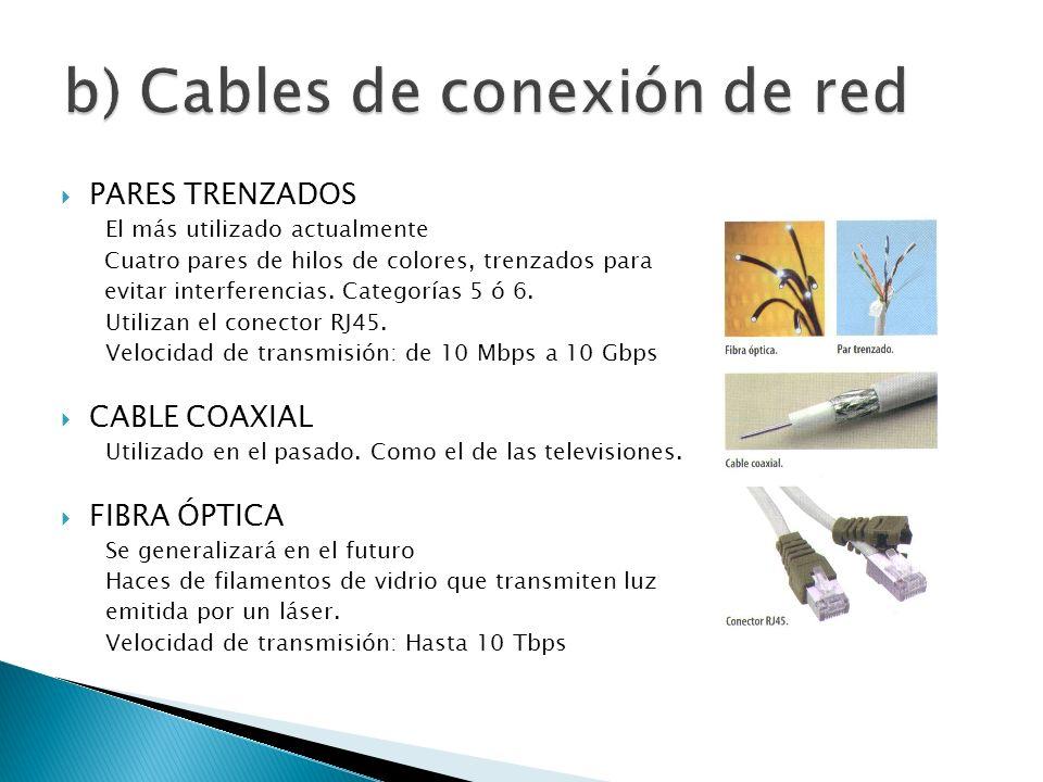 b) Cables de conexión de red