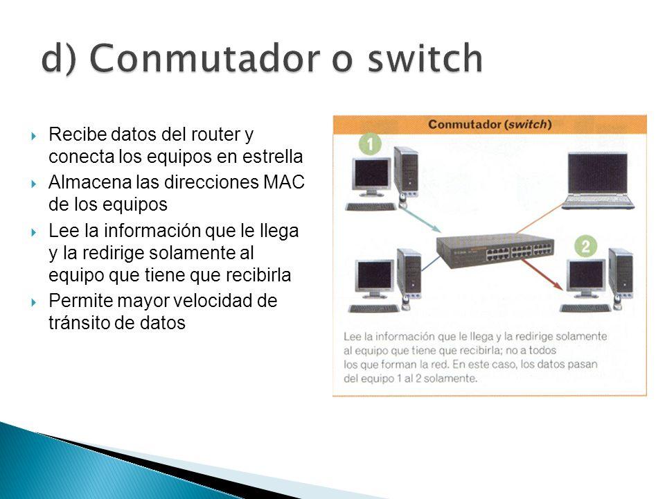 d) Conmutador o switchRecibe datos del router y conecta los equipos en estrella. Almacena las direcciones MAC de los equipos.