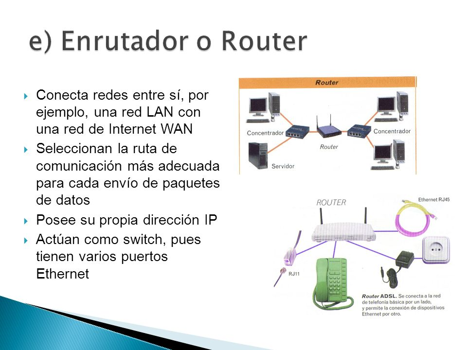e) Enrutador o Router Conecta redes entre sí, por ejemplo, una red LAN con una red de Internet WAN.