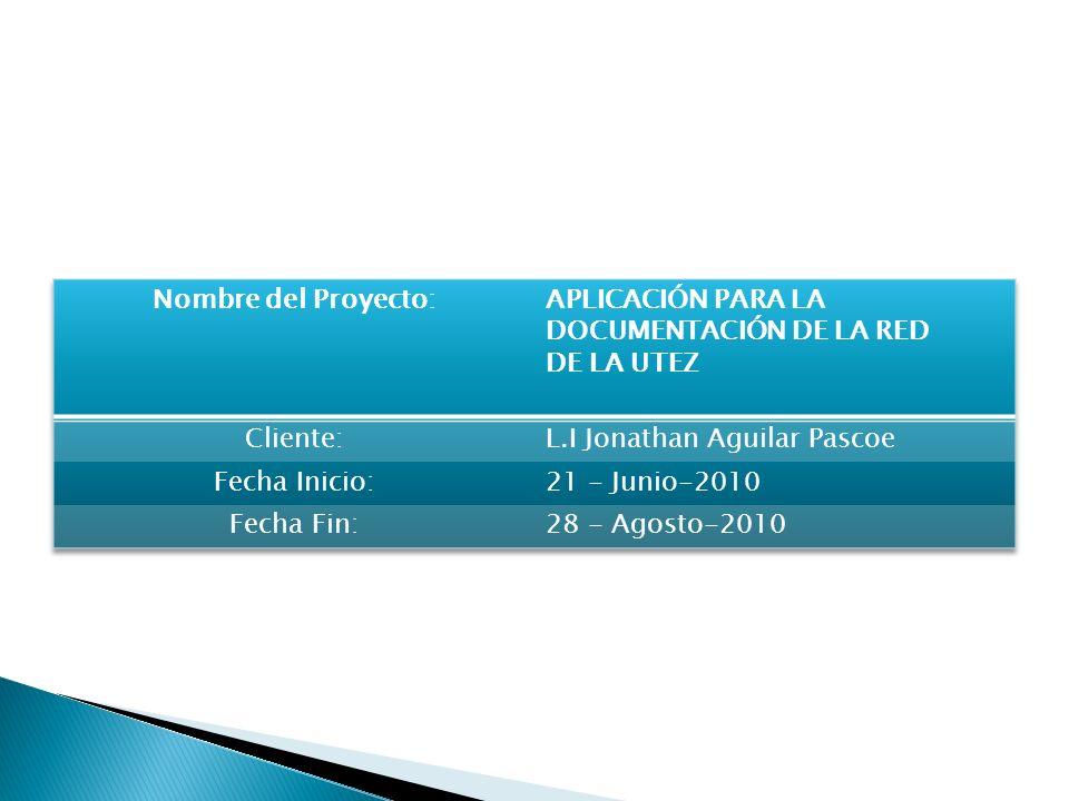 Nombre del Proyecto:APLICACIÓN PARA LA DOCUMENTACIÓN DE LA RED. DE LA UTEZ. Cliente: L.I Jonathan Aguilar Pascoe.