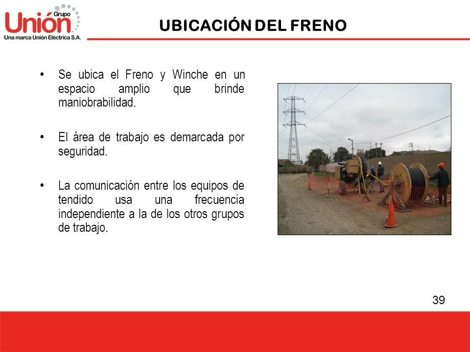 UBICACIÓN DEL FRENO Se ubica el Freno y Winche en un espacio amplio que brinde maniobrabilidad. El área de trabajo es demarcada por seguridad.