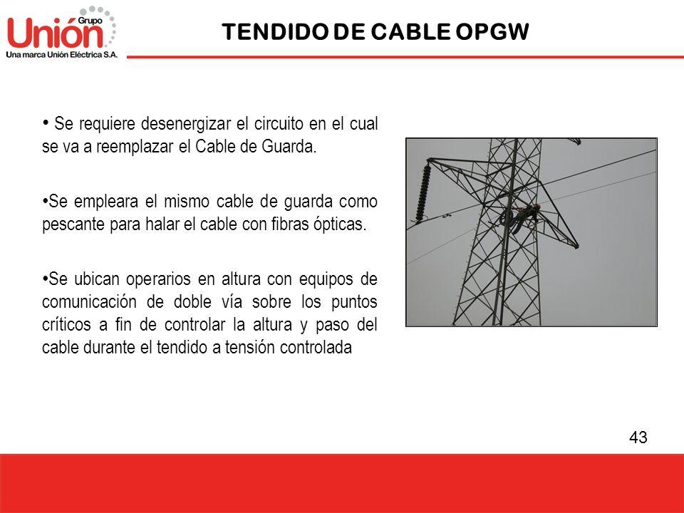 TENDIDO DE CABLE OPGW Se requiere desenergizar el circuito en el cual se va a reemplazar el Cable de Guarda.