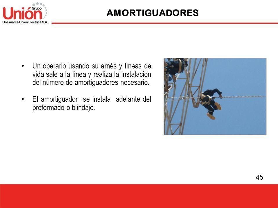 AMORTIGUADORES Un operario usando su arnés y líneas de vida sale a la línea y realiza la instalación del número de amortiguadores necesario.