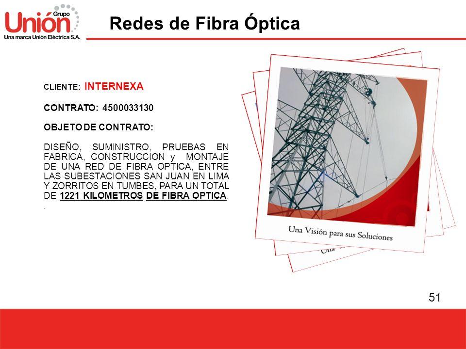 Redes de Fibra Óptica CONTRATO: 4500033130 OBJETO DE CONTRATO: