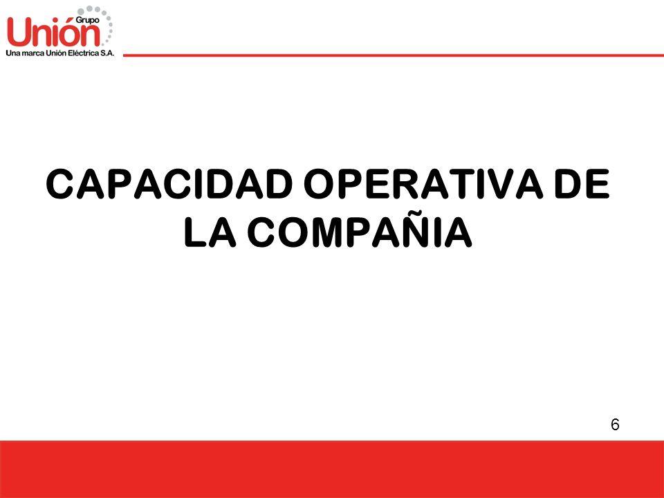 CAPACIDAD OPERATIVA DE LA COMPAÑIA