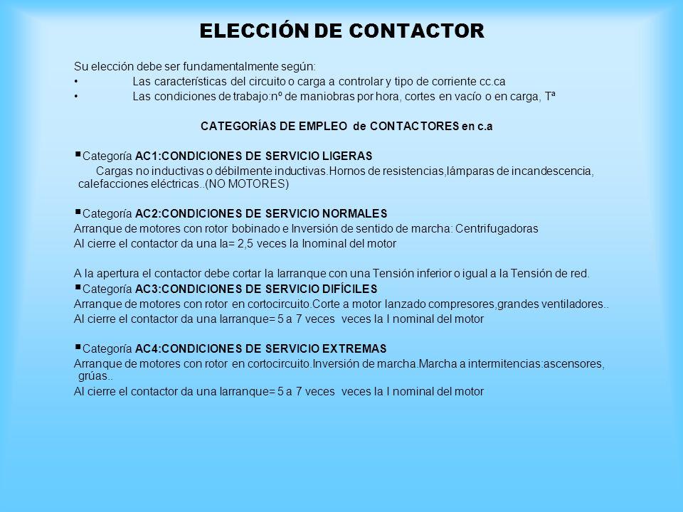 CATEGORÍAS DE EMPLEO de CONTACTORES en c.a