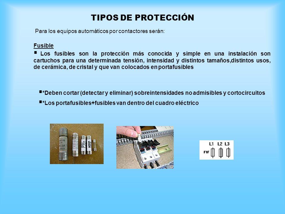 TIPOS DE PROTECCIÓN Para los equipos automáticos por contactores serán: Fusible