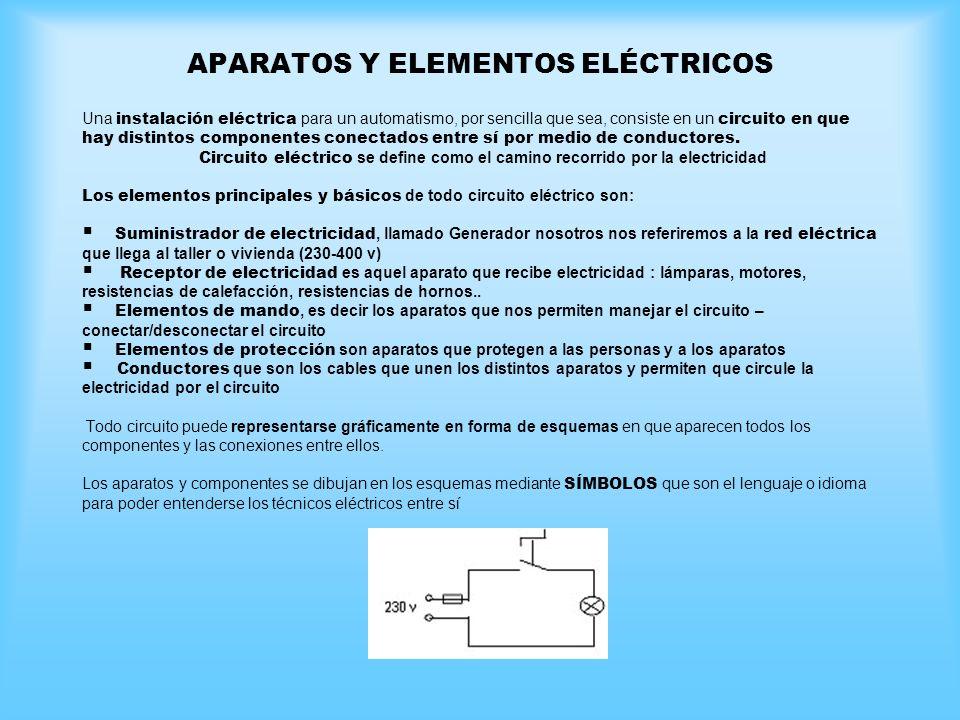 APARATOS Y ELEMENTOS ELÉCTRICOS