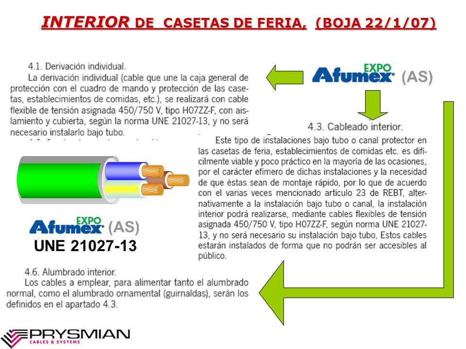 INTERIOR DE CASETAS DE FERIA, (BOJA 22/1/07)