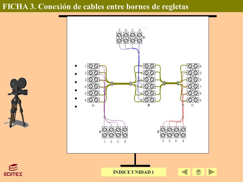 FICHA 3. Conexión de cables entre bornes de regletas