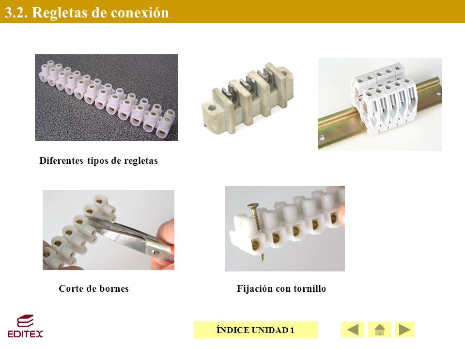 3.2. Regletas de conexión Diferentes tipos de regletas Corte de bornes