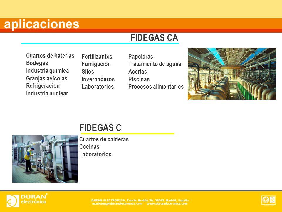 aplicaciones FIDEGAS CA FIDEGAS C Cuartos de baterías Bodegas