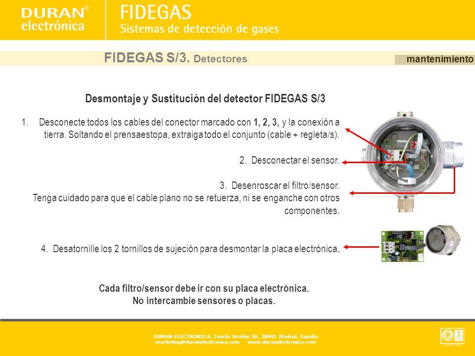 FIDEGAS S/3. Detectores mantenimiento. Desmontaje y Sustitución del detector FIDEGAS S/3.