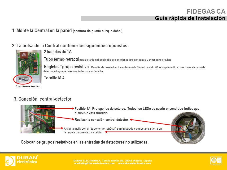 FIDEGAS CA Guía rápida de instalación