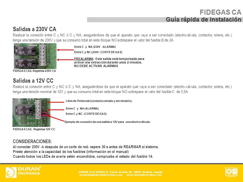 FIDEGAS CA Guía rápida de instalación Salidas a 230V CA