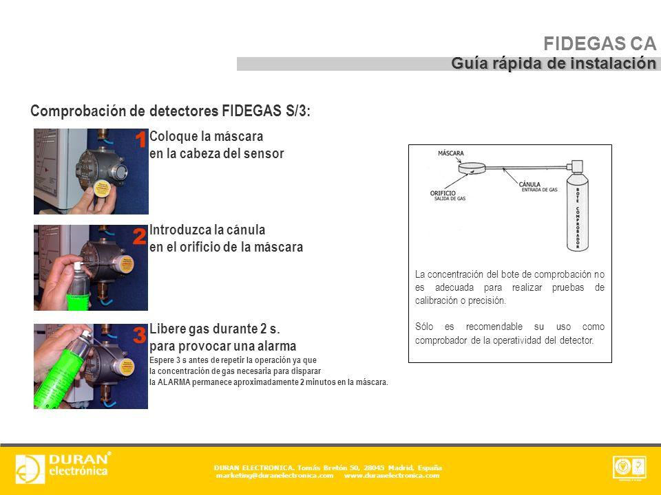 1 2 3 FIDEGAS CA Guía rápida de instalación