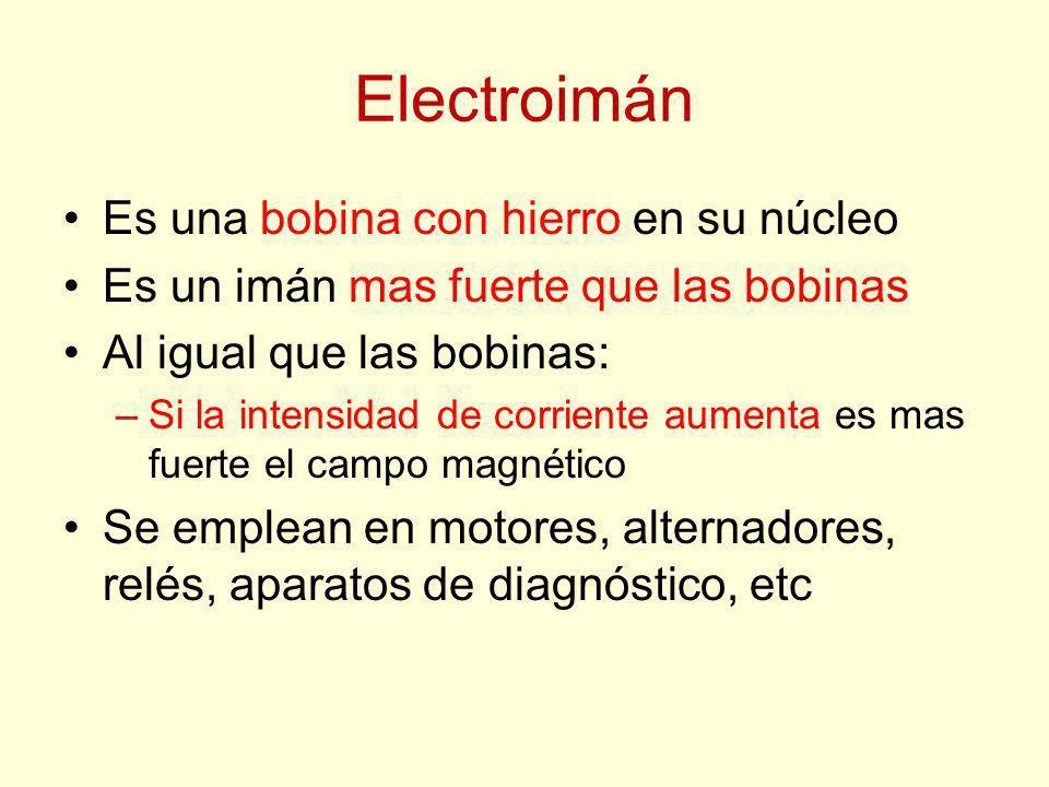 Electroimán Es una bobina con hierro en su núcleo