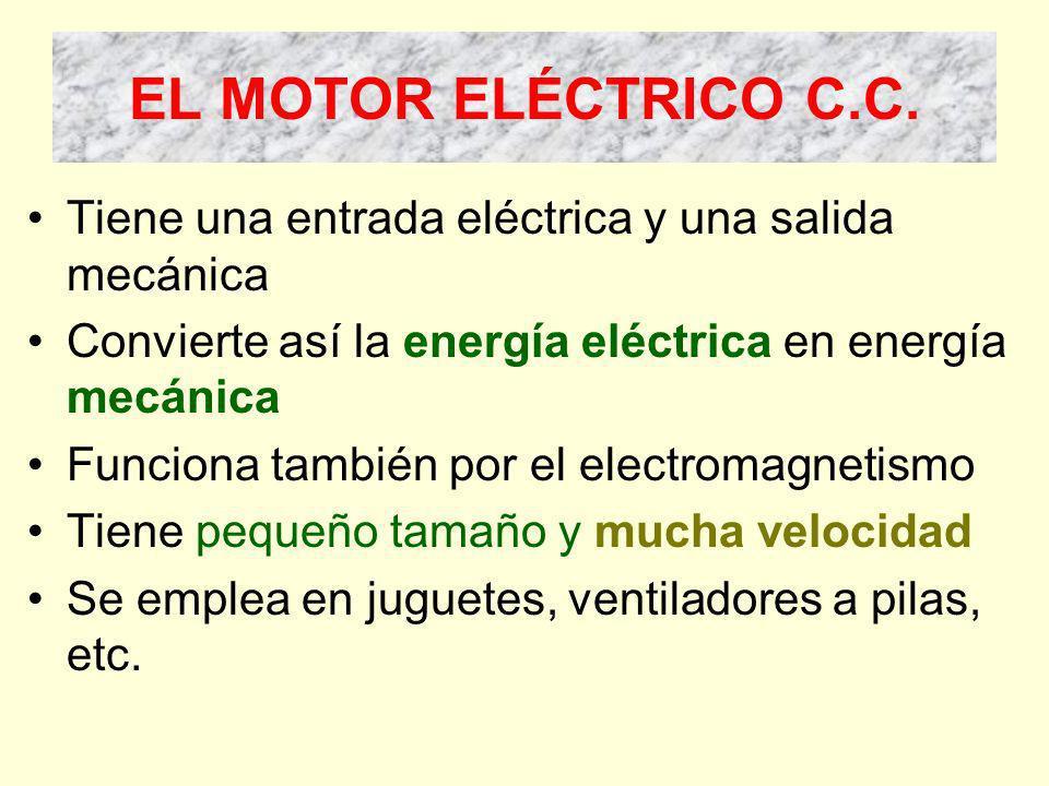 EL MOTOR ELÉCTRICO C.C. Tiene una entrada eléctrica y una salida mecánica. Convierte así la energía eléctrica en energía mecánica.