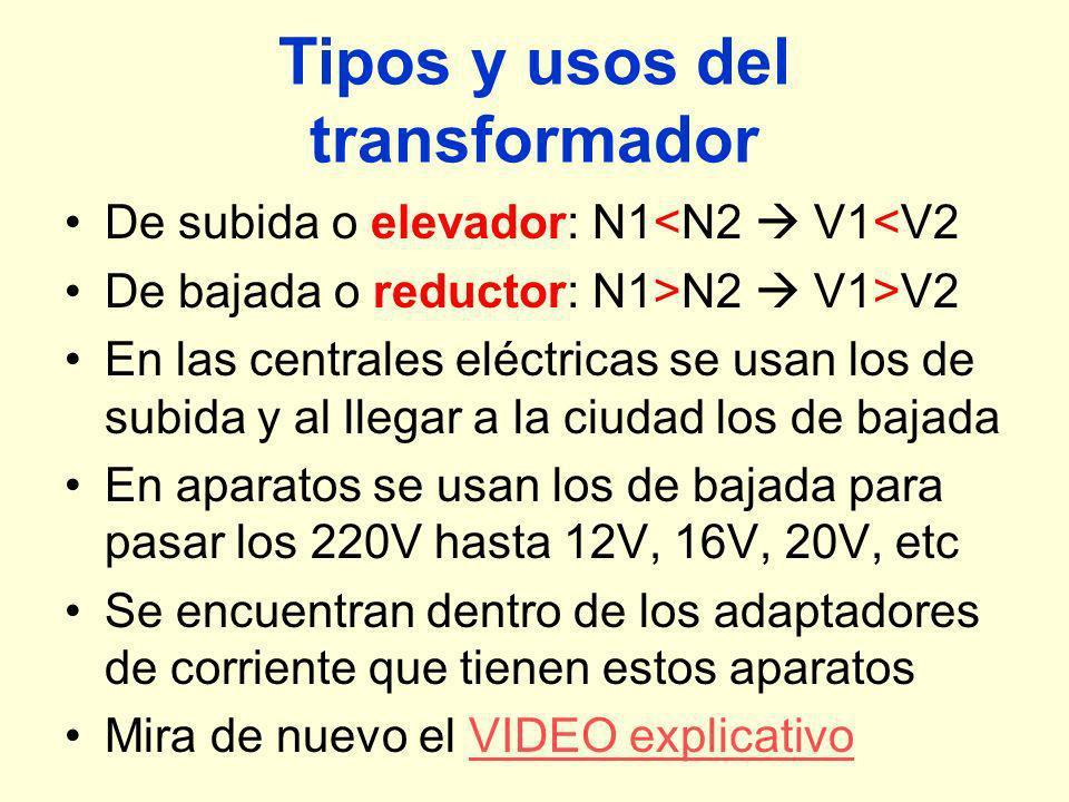 Tipos y usos del transformador