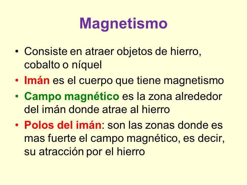 Magnetismo Consiste en atraer objetos de hierro, cobalto o níquel
