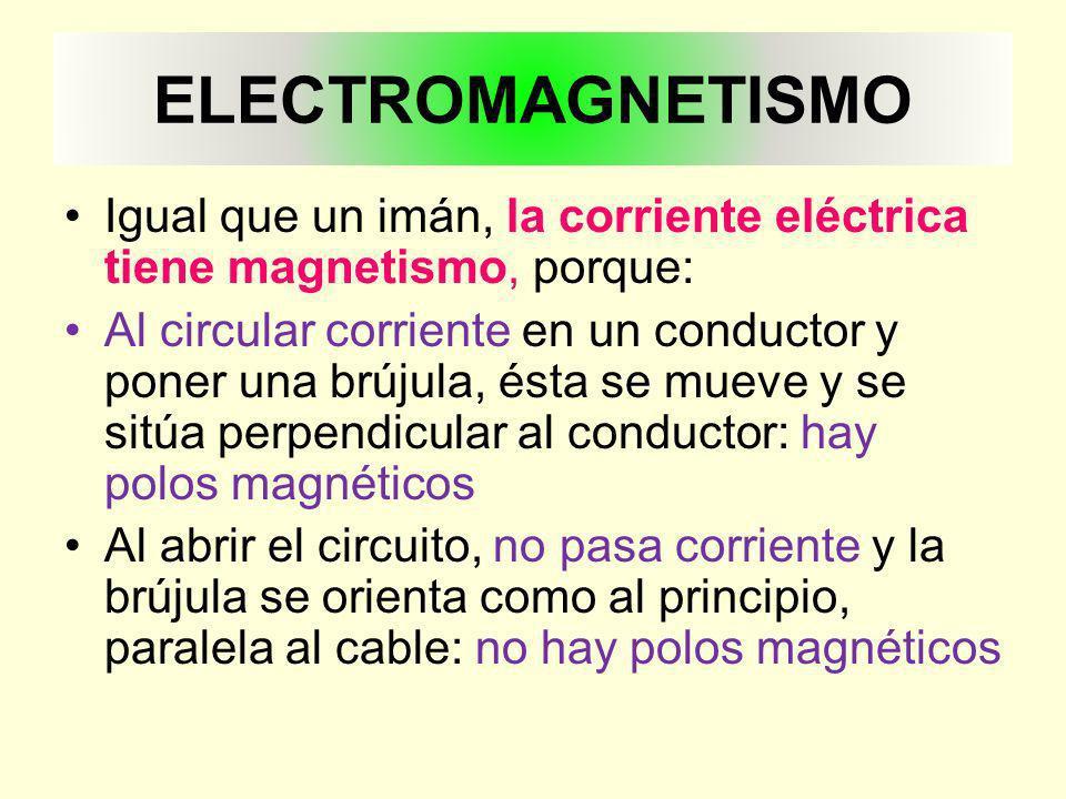 ELECTROMAGNETISMO Igual que un imán, la corriente eléctrica tiene magnetismo, porque: