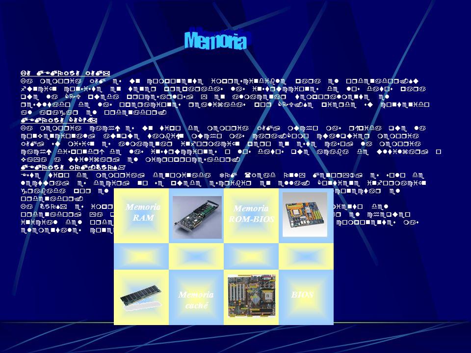 Memoria Memoria RAM Memoria caché Memoria ROM-BIOS BIOS