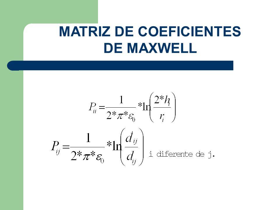 MATRIZ DE COEFICIENTES DE MAXWELL