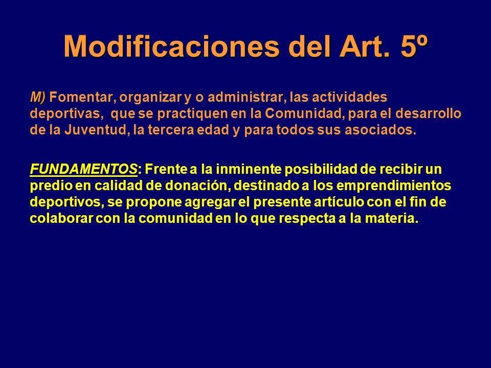 Modificaciones del Art. 5º