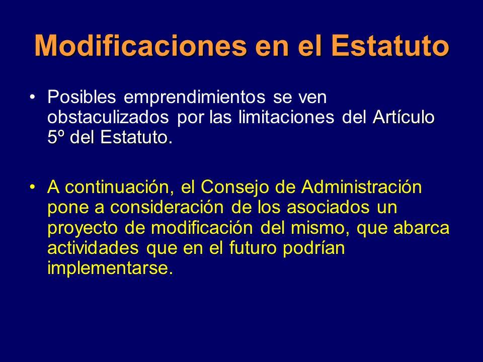 Modificaciones en el Estatuto