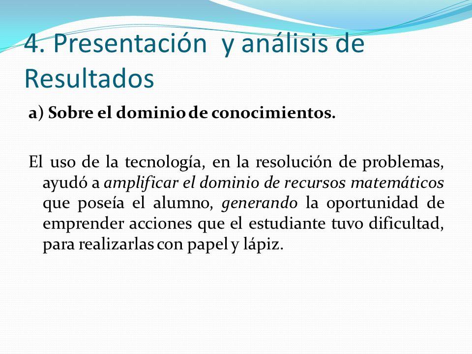 4. Presentación y análisis de Resultados