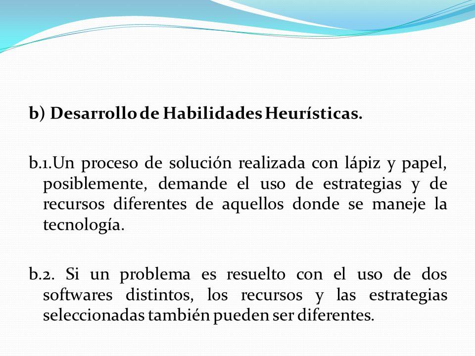 b) Desarrollo de Habilidades Heurísticas. b. 1