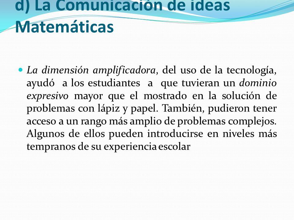 d) La Comunicación de ideas Matemáticas