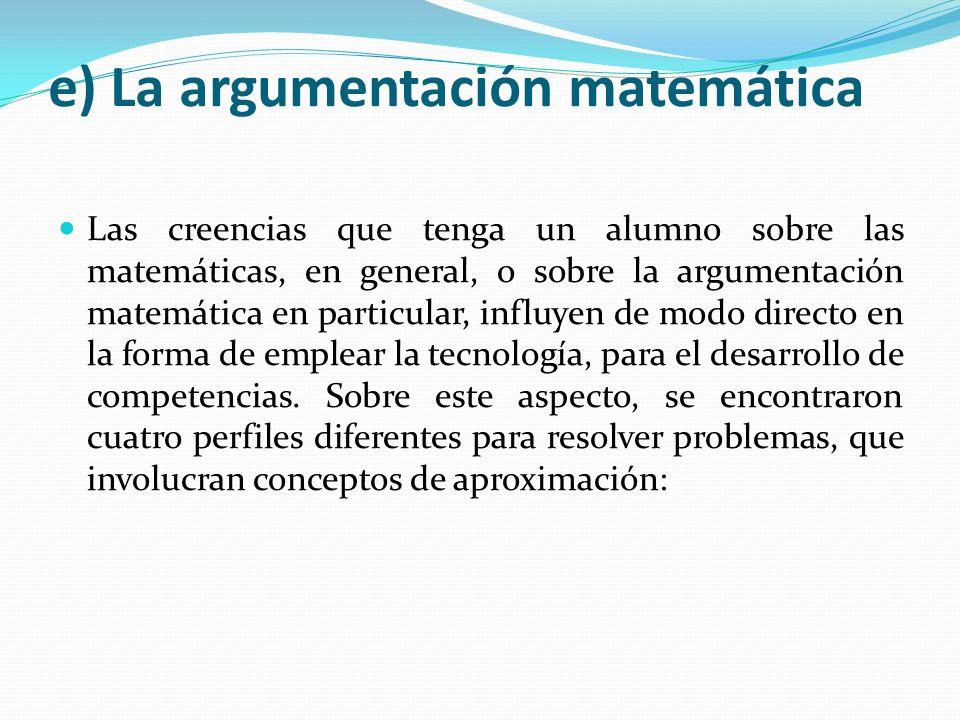 e) La argumentación matemática