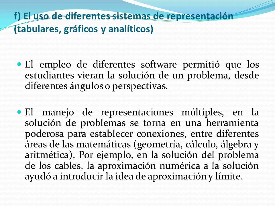 f) El uso de diferentes sistemas de representación (tabulares, gráficos y analíticos)